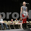 """Rob Winner – rwinner@shawmedia.com<br /> <br /> Katrina Baum, 13, of Clinton Rosette Middle School, reacts after misspelling """"Boswell"""" in the fourth round during the DeKalb County Spelling Bee at Kishwaukee College in Malta, Ill., Saturday, Feb. 23, 2013."""
