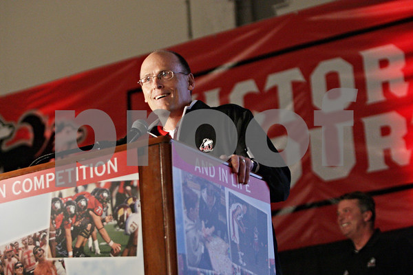 Rob Winner – rwinner@shawmedia.com<br /> <br /> Northern Illinois football defensive coordinator Jay Niemann (left) speaks during the seventh annual Huskie Athletic Support Fund Kickoff Classic on Saturday, March 2, 2013, inside Victor E. Court at the Convocation Center in DeKalb, Ill.
