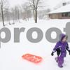 Kyle Bursaw – kbursaw@shawmedia.com<br /> <br /> Rebecca Duda, 7, pulls her sled up a slope at Hopkins Park in DeKalb, Ill. on Tuesday, March 5, 2013.