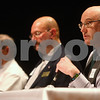 Kyle Bursaw – kbursaw@shawmedia.com<br /> <br /> DeKalb Park District Commissioner candidate Keith Nyquist (right) gives his two-minute opening statement following Bryant Irving (center) and Dean Holliday (left) during the candidates night forum at the Egyptian Theatre in DeKalb, Ill. on Thursday, March 7, 2013.