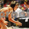 Rob Winner – rwinner@shawmedia.com<br /> <br /> Jack Evans (left), of DeKalb Clinton Rosette, competes against Peter Kennedy, of Lake Forest Deer Path, in a 126-pound match during the Illinois Elementary School Association Boys State Wrestling Tournament at the Convocation Center in DeKalb, Ill., Saturday, March 9, 2013.