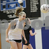 Rob Winner – rwinner@shawmedia.com<br /> <br /> Jacqueline Madden heads a ball during a drill at soccer practice at Hinckley-Big Rock High School on Wednesday, March 6, 2013.