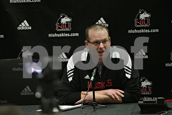 Rob Winner – rwinner@shawmedia.com<br /> <br /> Northern Illinois head football coach speaks during a press conference at the Yordon Center on the Northern Illinois University campus in DeKalb, Ill., Tuesday, March 19, 2013.