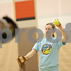 Rob Winner – rwinner@shawmedia.com<br /> <br /> Left handed freshman pitcher Morgan Newport plays catch at the start of softball practice inside the field house at DeKalb High School on Friday, March 15, 2013.