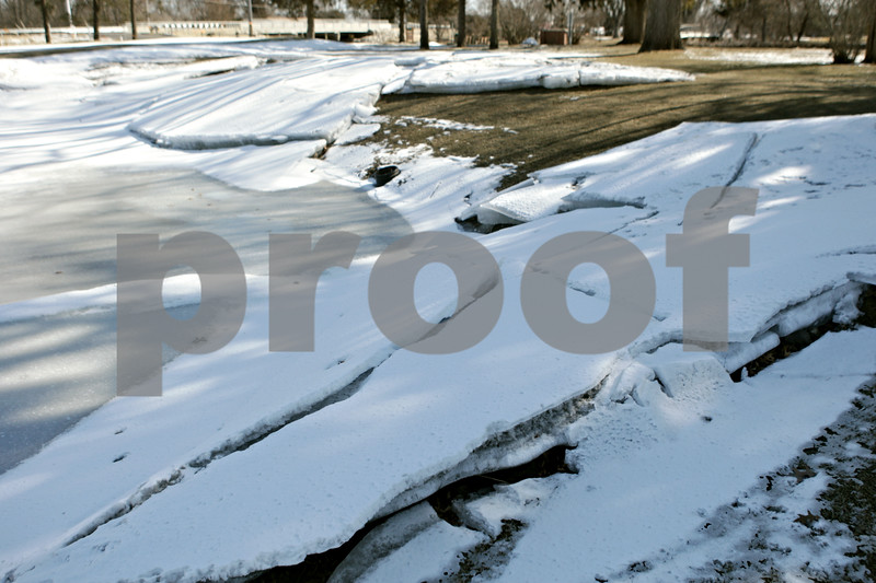 Rob Winner – rwinner@shawmedia.com<br /> <br /> Although much of the water from last week's precipitaion that covered the fairway on the ninth hole at Sycamore Golf Club has receded, large chunks of ice still remain as seen on Wednesday, March 20, 2013.