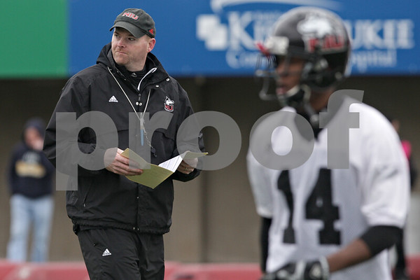 Rob Winner – rwinner@shawmedia.com<br /> <br /> Northern Illinois football coach Rod Carey during practice at Huskie Stadium in DeKalb, Ill., Wednesday, March 27, 2013.