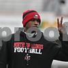 Rob Winner – rwinner@shawmedia.com<br /> <br /> Northern Illinois running backs coach Kelton Copeland during practice at Huskie Stadium in DeKalb, Ill., Wednesday, March 27, 2013.