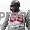 Rob Winner – rwinner@shawmedia.com<br /> <br /> Northern Illinois offensive lineman Ron Brown during practice at Huskie Stadium in DeKalb, Ill., Wednesday, March 27, 2013.