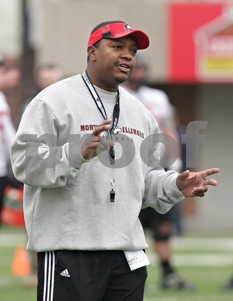 Rob Winner – rwinner@shawmedia.com<br /> <br /> Northern Illinois cornerbacks coach Kelvin Sigler during practice at Huskie Stadium in DeKalb, Ill., Wednesday, March 27, 2013.