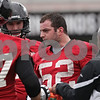 Rob Winner – rwinner@shawmedia.com<br /> <br /> Northern Illinois linebacker Michael Santacaterina (52) during practice at Huskie Stadium in DeKalb, Ill., Wednesday, March 27, 2013.