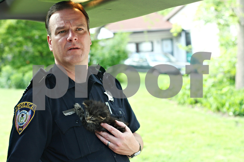 Daily Chronicle file photo<br /> <br /> DeKalb officer Jeff Winters holds a kitten after a house fire on Wednesday, May 9, 2012.