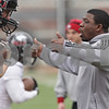 Rob Winner – rwinner@shawmedia.com<br /> <br /> Northern Illinois wide receivers coach Thad Ward instructs his players during practice at Huskie Stadium in DeKalb, Ill., Wednesday, March 27, 2013.