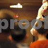 Erik Anderson - For the Daily Chronicle <br /> The Easter Bunny watches as three children play an egg toss game during the morning festivities of Breakfast with the Bunny at the Egyptian Theater in downtown DeKalb on Saturday, March 23, 2013 .
