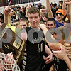 Rob Winner – rwinner@shawmedia.com<br /> <br /> Sycamore's Scott Nelson (40) celebrates the Spartans' 51-44 victory over Hampshire with teammates and fans following the Class 3A Burlington Central Regional final in Burlington, Ill., Friday, Mar. 1, 2013.