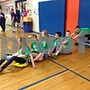 Stephanie Hickman - shickman@shawmedia.com<br /> <br /> Genoa-Kingston Middle School sixth-graders, Stephanie Cook, Anna Hansen, Brianna Popyk, Dalton Peters, Derek Schlenker and Wyatt Flint compete in a jester relay race at their annual medieval fair. More than 150 students participated in the fair, which aligns with their recent social studies lessons focusing on the Middle Ages.