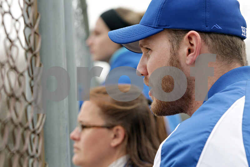 Rob Winner – rwinner@shawmedia.com<br /> <br /> Hinckley-Big Rock coach Jeff Kenyon watches his team during the bottom of the second inning during a game in Newark, Ill., Tuesday, April 16, 2013.