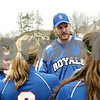 Rob Winner – rwinner@shawmedia.com<br /> <br /> Hinckley-Big Rock coach Jeff Kenyon gathers his team after the top of the third inning during a game in Newark, Ill., Tuesday, April 16, 2013.