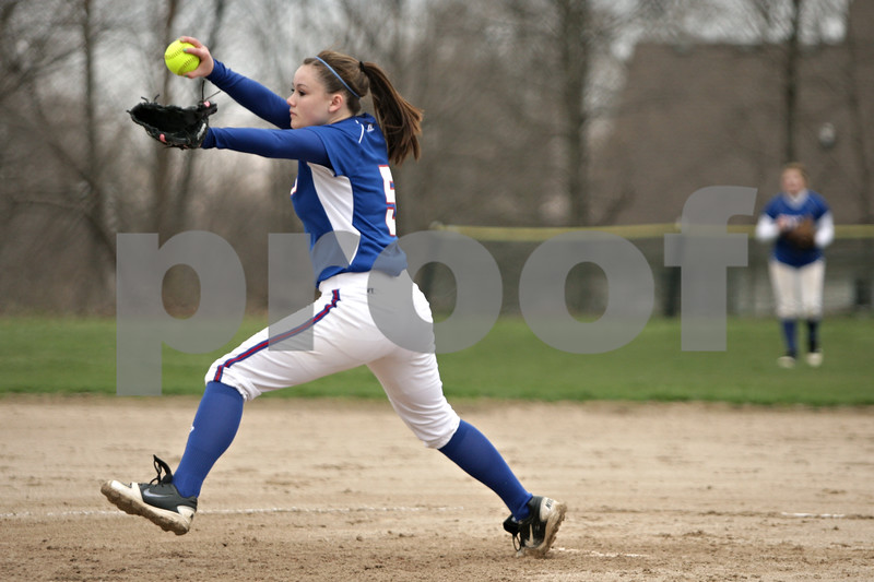 Rob Winner – rwinner@shawmedia.com<br /> <br /> Hinckley-Big Rock's Kenzie Coppes delivers a pitch to a Newark batter in the bottom of the second inning during a game in Newark, Ill., Tuesday, April 16, 2013.