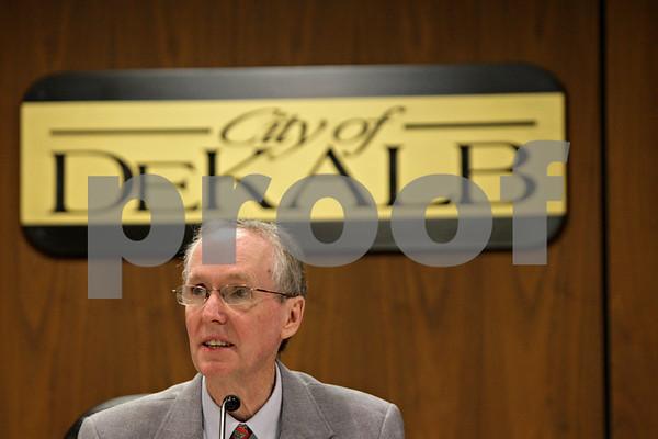 Rob Winner – rwinner@shawmedia.com<br /> <br /> Mayor Kris Polvsen presides over his final DeKalb City Council meeting on Monday, April 22, 2013.