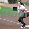 Monica Maschak - mmaschak@shawmedia.com<br /> DeKalb's Haley Tadd anticipates the ball at first base in a rivalry game at Northern Illinois University on Tuesday, May 7, 2013. The Barbs beat the Spartans 4-3.