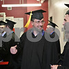 Rob Winner – rwinner@shawmedia.com<br /> <br /> Northern Illinois University College of Engineering and Engineering Technology graduates Nick Skuban (left) and Douglas May prepare to enter the Convocation Center floor in DeKalb at the start of commencement on Saturday, May 11, 2013.<br /> <br /> DeKalb, Ill.