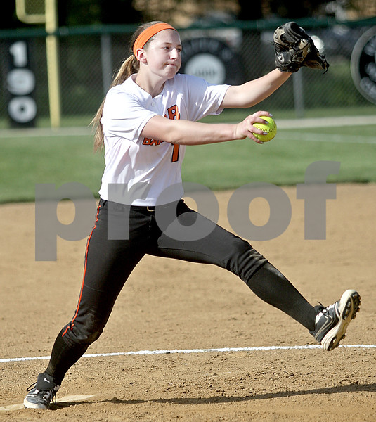 Monica Maschak - mmaschak@shawmedia.com<br /> Katie Kowalski winds up a pitch in a game at Kaneland High School on Thursday, May 16, 2013. The Knights shut out the Barbs 4-0.
