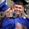 Monica Maschak - mmaschak@shawmedia.com<br /> Meredith Fitzsimmons hugs Cody Hunt before the commencement ceremony at the Genoa-Kingston Class of 2013 graduation on Wednesday, May 15, 2013. About 150 cogs graduated this year.