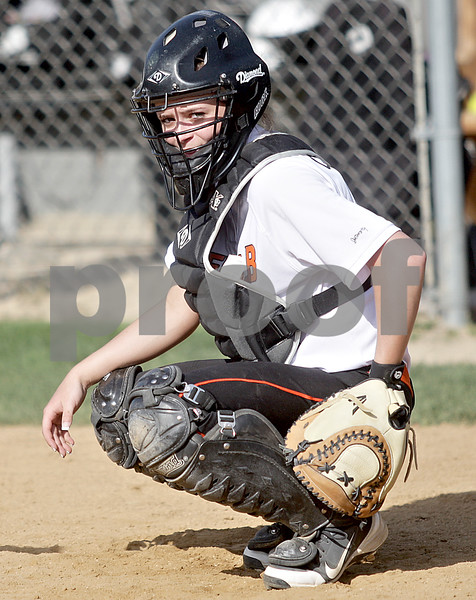 Monica Maschak - mmaschak@shawmedia.com<br /> Lindsey Costliow awaits a signal in a game at Kaneland High School on Thursday, May 16, 2013. The Knights shut out the Barbs 4-0.