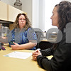 Monica Maschak - mmaschak@shawmedia.com<br /> Career Center Coordinator Michelle Allen shows soon-to-be graduate Tia Williams how to utilize the Kish CareerLink, a career exploration program, at the Kishwaukee College Career Center on Thursday, May 16, 2013. Williams will be graduating from Kishwaukee College on Saturday with an Associates of Arts degree, and plans to attend Northern Illinois in the fall for corporate communications. The career center will remain open throughout the summer and is available to students, alumni and community members.