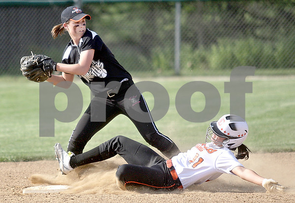 Monica Maschak - mmaschak@shawmedia.com<br /> Allie Miller, for Kaneland, looks to throw to first base after getting DeKalb's Sabrina Killeen out at second base in a game at Kaneland High School on Thursday, May 16, 2013. The Knights shut out the Barbs 4-0.