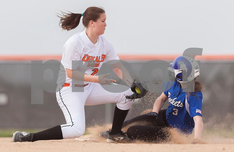 Erik Anderson - For the Daily Chronicle<br /> DeKalb's Riley Latimer just misses the out as Burlington Central's Kayla Ross steals second base during the match up of DeKalb and Burlington Central at Dekalb High School on Monday, May 13, 2013. Burlington Central defeated DeKalb 5-3.