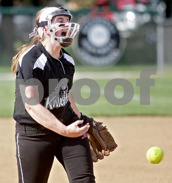 Monica Maschak - mmaschak@shawmedia.com<br /> Ellissa Eckert throws a pitch in a game against DeKalb on Thursday, May 16, 2013. The Knights shut out the Barbs 4-0.