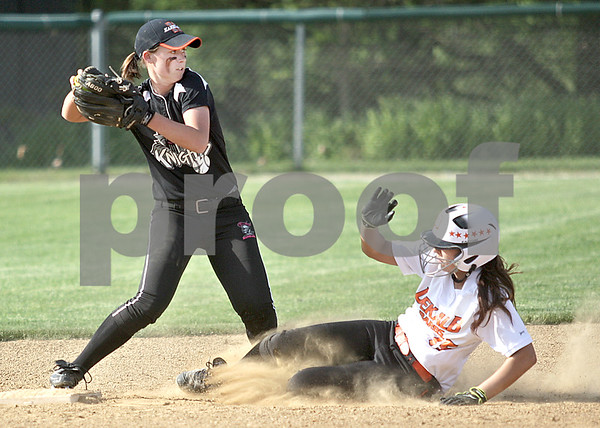 Monica Maschak - mmaschak@shawmedia.com<br /> Allie Miller, for Kaneland, looks to throw to first base after getting DeKalb's Hannah Walter out at second base in a game at Kaneland High School on Thursday, May 16, 2013. The Knights shut out the Barbs 4-0.