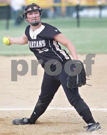 Monica Maschak - mmaschak@shawmedia.com<br /> Taylor Zak winds up a pitch in the Class 3A Sycamore Regional semifinals against Burlington Central on Tuesday, May 21, 2013. The game was called after six innings when the Spartans were down 11-1.