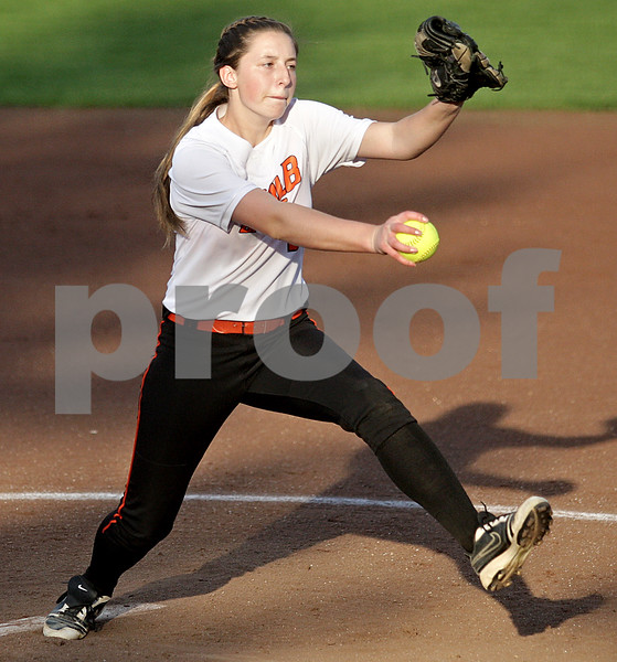 Monica Maschak - mmaschak@shawmedia.com<br /> Katie Kowalski, for DeKalb, pitches in a rivalry game at Northern Illinois University on Tuesday, May 7, 2013. The Barbs beat the Spartans 4-3.