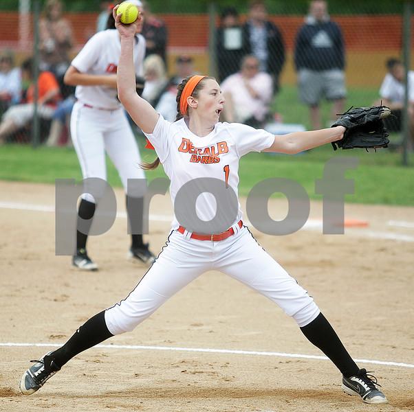 Monica Maschak - mmaschak@shawmedia.com<br /> Katie Kowalshi winds up on her pitch in the first inning of the Class 4A Prairie Ridge Sectional final against Warren on Saturday, June 1, 2013. DeKalb lost 6-1.