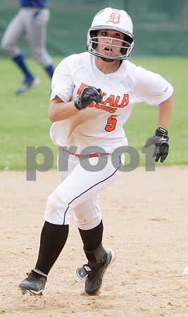 Monica Maschak - mmaschak@shawmedia.com<br /> Rachael Johnson makes a run for third base in the seventh inning of the Class 4A Prairie Ridge Sectional final against Warren on Saturday, June 1, 2013. DeKalb lost 6-1.