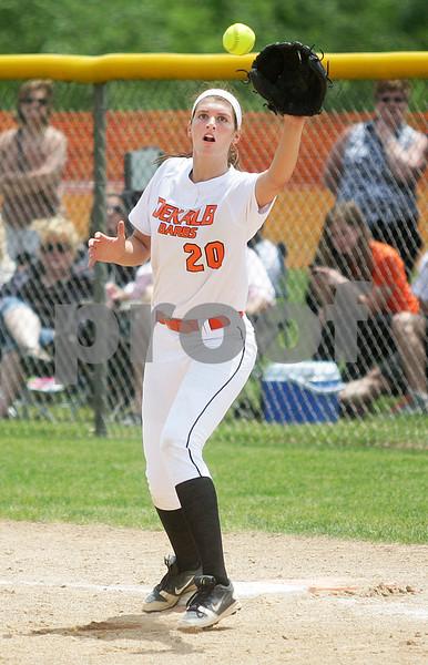 Monica Maschak - mmaschak@shawmedia.com<br /> Haley Tadd catches the ball at first base in the seventh inning of the Class 4A Prairie Ridge Sectional final against Warren on Saturday, June 1, 2013. DeKalb lost 6-1.