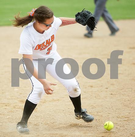 Monica Maschak - mmaschak@shawmedia.com<br /> Sarah Friedlund picks up a gound ball to make a play in the seventh inning of the Class 4A Prairie Ridge Sectional final against Warren on Saturday, June 1, 2013. DeKalb lost 6-1.