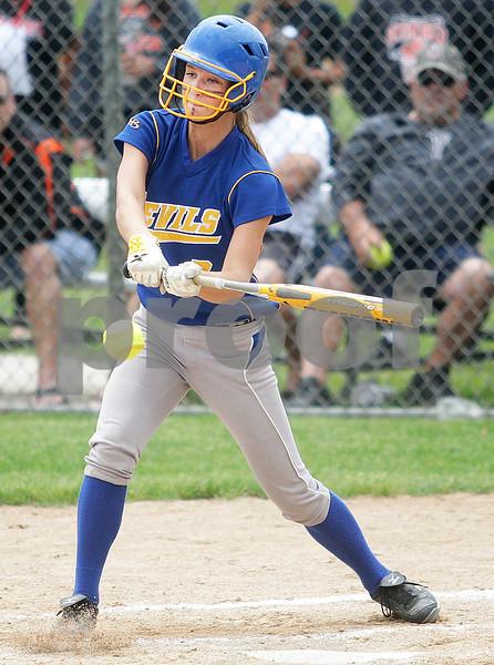 Monica Maschak - mmaschak@shawmedia.com<br /> Jazmin Bonke swings at the ball in the third inning of the Class 4A Prairie Ridge Sectional final against Warren on Saturday, June 1, 2013. DeKalb lost 6-1.