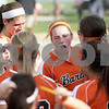 Monica Maschak - mmaschak@shawmedia.com<br /> Katie Kowalski rallies up the team before the seventh inning against Harlem during the Class 4A Prairie Ridge Sectional semifinals on Wednesday, May 29, 2013. The Barbs made a comeback to win 4-3.