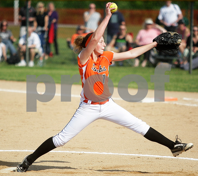 Monica Maschak - mmaschak@shawmedia.com<br /> Katie Kowalski winds up on a pitch to Harlem in the second inning of the Class 4A Prairie Ridge Sectional semifinals on Wednesday, May 2013. The Barbs made a comeback to win 4-3.