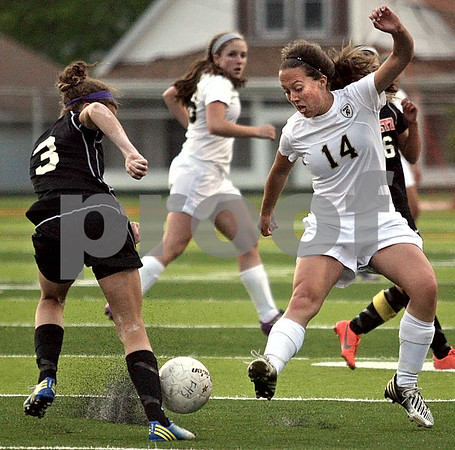 Monica Maschak - mmaschak@shawmedia.com<br /> Katherine Kohler makes a kick during the Class 2A Freeport Sectional semifinals in Freeport, Ill., Tuesday, May 22, 2013. Sycamore lost 8-1.