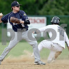 Monica Maschak - mmaschak@shawmedia.com<br /> Donald Giebel, for the Hawks, outs Mitch Ruh, for the Royals, at Second base in a Class A Hinckley-Big Rock Regional finals game at Kenny Field on Saturday, May 18, 2013. Hiawatha won 6-5.