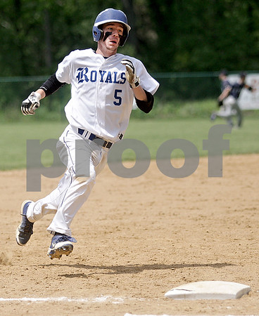 Monica Maschak - mmaschak@shawmedia.com<br /> Jacob Ryan, for the Royals, rounds third base in a Class A Hinckley-Big Rock Regional finals game at Kenny Field on Saturday, May 18, 2013. Hiawatha won 6-5.