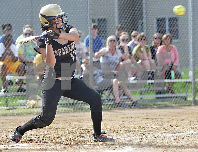 Monica Maschak - mmaschak@shawmedia.com<br /> Jasmyne Taylor eyes a high pitch in the Class 3A Sycamore Regional semifinals against Burlington Central on Tuesday, May 21, 2013. The game was called after six innings when the Spartans were down 11-1.