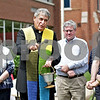 Monica Maschak - mmaschak@shawmedia.com<br /> Father Paul Lipinski blesses the ground with holy water before a groundbreaking ceremony at St. Mary's School in Sycamore on Friday, May 31, 2013. After seven years of planning, phase one in the building of the school's Faith Formation Center has officially begun.