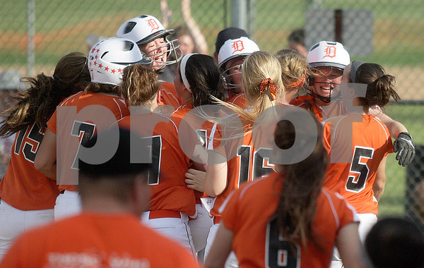 Monica Maschak - mmaschak@shawmedia.com<br /> DeKalb celebrates a win in a close game against Harlem in the Class 4A Prairie Ridge Sectional semifinals on Wednesday, May 29, 2013. The Barbs made a comeback to win 4-3.