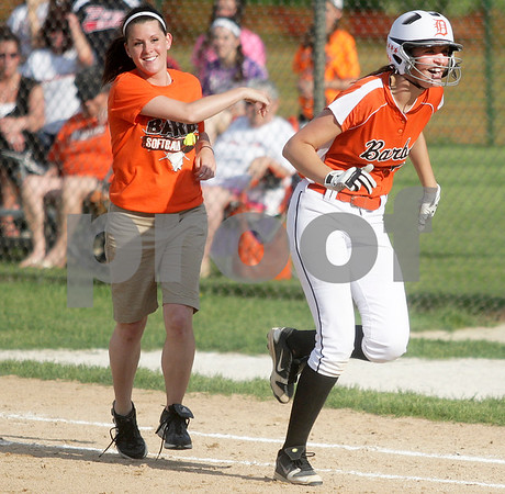 Monica Maschak - mmaschak@shawmedia.com<br /> DeKalb Assistant Coach Donna Larson encourages Haley Tadd to go celebrate the team's win against Harlem in the seventh inning of the Class 4A Prairie Ridge Sectional semifinals on Wednesday, May 29, 2013. The Barbs made a comeback to win 4-3.