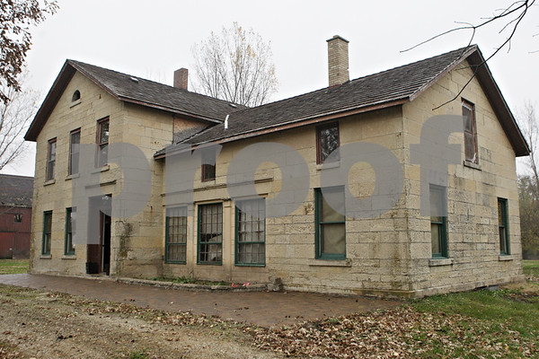 Rob Winner – rwinner@shawmedia.com<br /> <br /> The original stone house on Stonehouse Farm is seen in Earlville, Ill., Tuesday, Nov. 5, 2013. Daren Friesen who now owns the property is working to get the buildings up to code.
